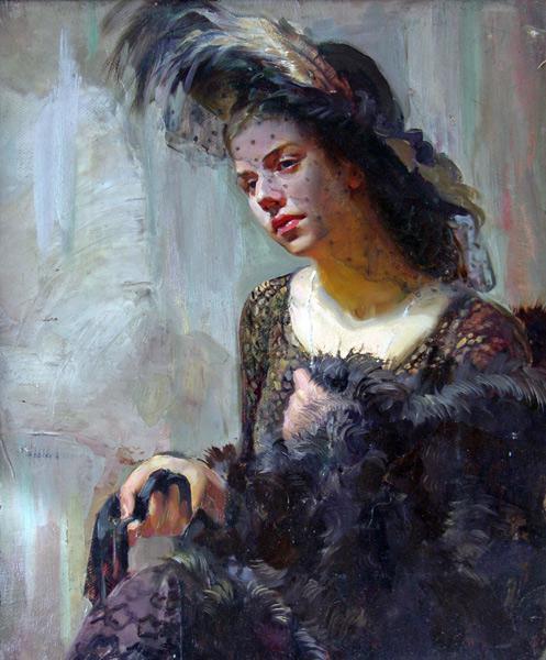 Сайт Полины и Дмитрия Лучановых. Дама в шляпке50-60 см. (портрет маслом с натуры)