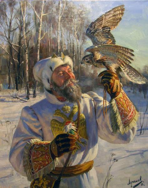 Polina & Dmitry Luchanov. The royal falconer. oil on canvas 100x80 cm. 2015