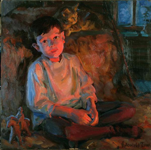 Сайт Полины и Дмитрия Лучановых. Кирилл у камина (холст, масло 60-60см.) 2003