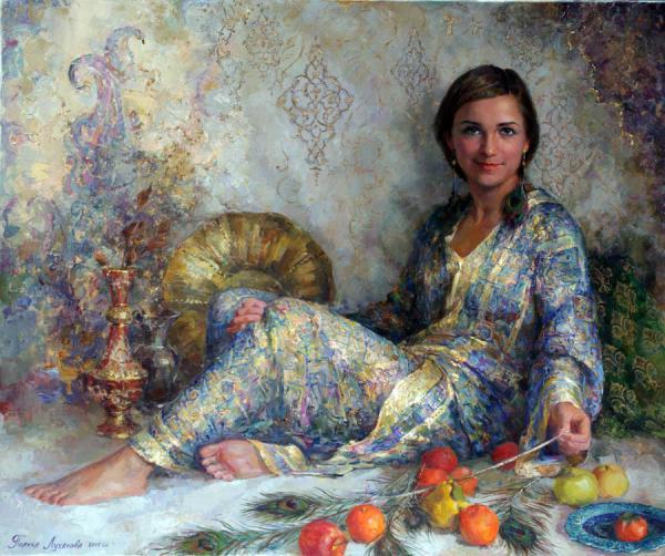 Сайт Полины и Дмитрия Лучановых. Лена.(портрет в восточном стиле) х.м. 10о-120см. 2011