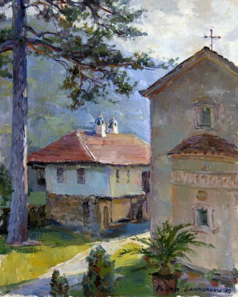 Сайт Полины и Дмитрия Лучановых. монастырь-в-Сербии-40х50см  2010