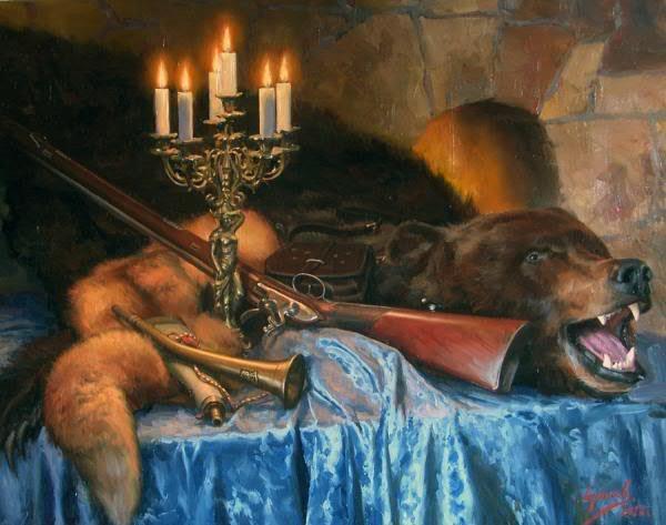 Сайт Полины и Дмитрия Лучановых. натюрморт с медвежьей шкурой 80х10см 2013