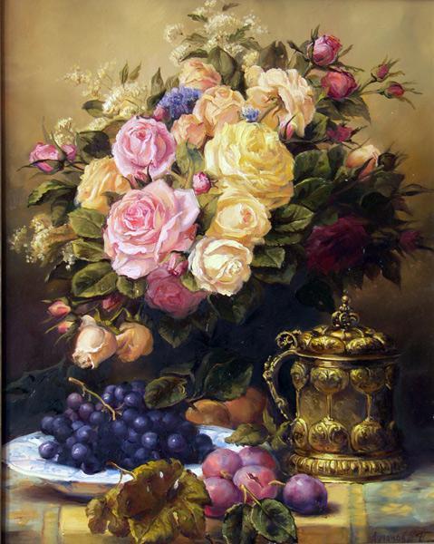 Маслом натюрморт цветы