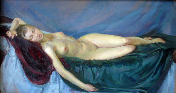 Polina & Dmitry Luchanov. Nu 2 (oil on canvas 30-60cm.) 2003