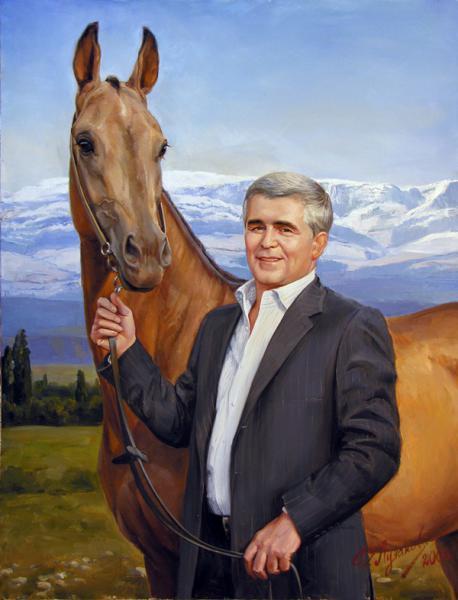 Polina & Dmitry Luchanov. portrait, along with a horse 70-90cm. oil on canvas, 2005