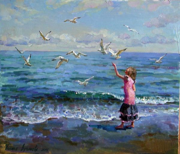 Сайт Полины и Дмитрия Лучановых. Lisa feeding gulls 45-55 cm 2015