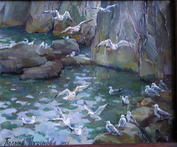 Сайт Полины и Дмитрия Лучановых. Gulls. 25x35 oil on canvas 2015