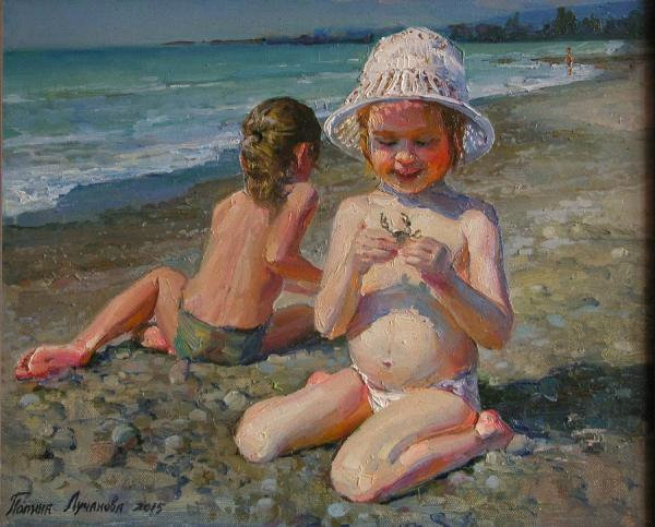 Сайт Полины и Дмитрия Лучановых. Marina caught a crab. 37h47sm oil on canvas 2015