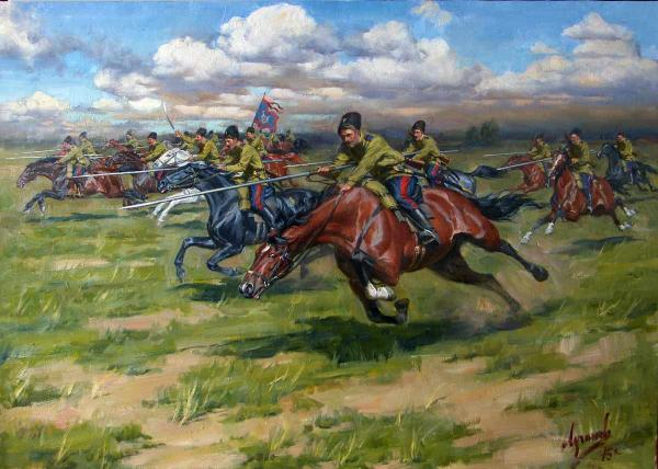 Polina & Dmitry Luchanov. Cavalry attack. Don Cossacks. 85h130 cm oil on canvas 2015