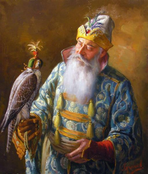 Сайт Полины и Дмитрия Лучановых. Сокольничий старшина. холст, масло 90х80 cm. 2015