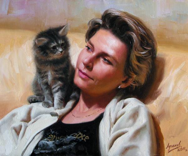 Сайт Полины и Дмитрия Лучановых. Портрет с котёнком 45х55см. 2011